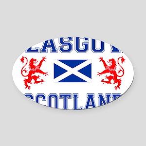 Glasgow Sco Blue for white Oval Car Magnet