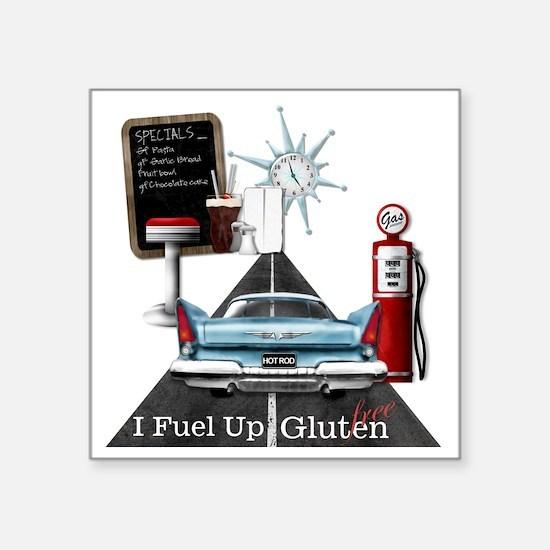 """Fuel Up Gluten Free Square Sticker 3"""" x 3"""""""