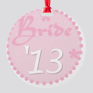 Pink Circle Bride 13 Round Ornament