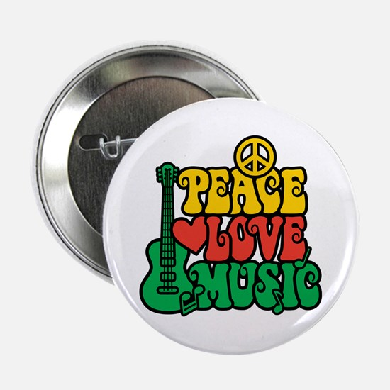 "Reggae Peace Love Music 2.25"" Button"