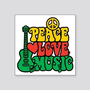 "Reggae Peace Love Music Square Sticker 3"" x 3"""