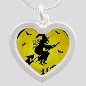Scottish Terrier and Hallowe Silver Heart Necklace