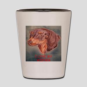 I Love My Wiener Shot Glass