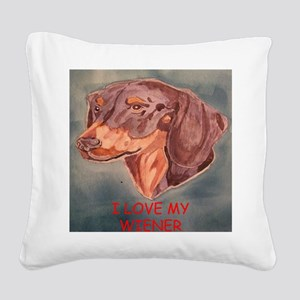 I Love My Wiener Square Canvas Pillow