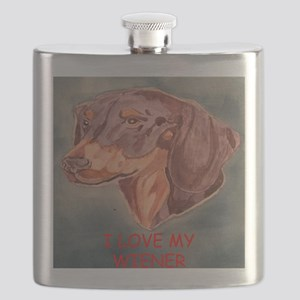 I Love My Wiener Flask