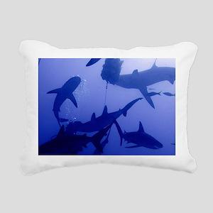 Caribbean Reef Sharks Rectangular Canvas Pillow