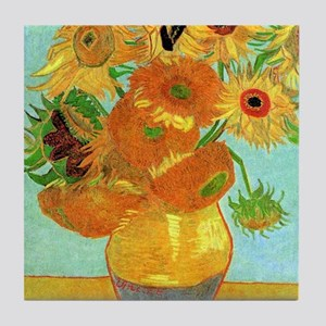 Still Life Vase with Twelve Sunflower Tile Coaster
