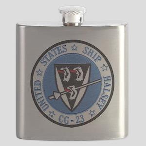 uss halsey cg patch transarent Flask