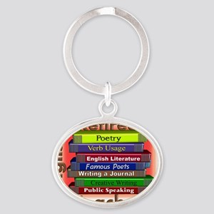Retired English Teacher Book Stack Oval Keychain