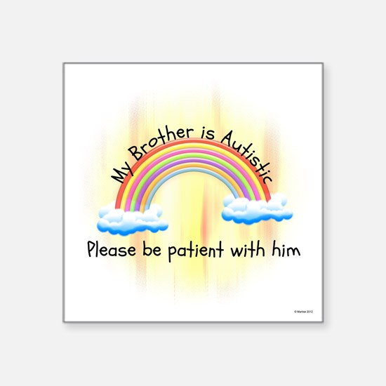 """Baby Autistic Brother T Square Sticker 3"""" x 3"""""""