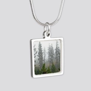Misty forest Silver Square Necklace