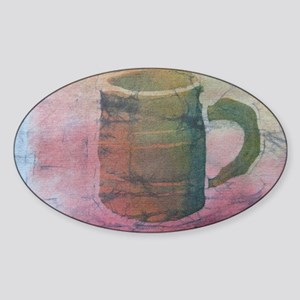Batik Brown Coffee Cup Sticker (Oval)