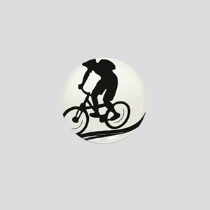biker mtb mountain bike cycle downhill Mini Button