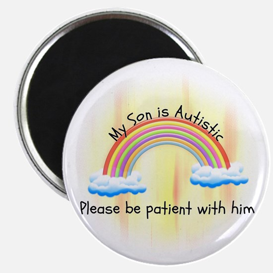 Transparent Autistic Son Rainbow Design Magnet