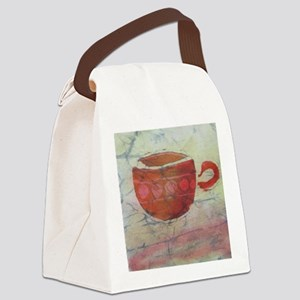 Batik Red Coffee Cup Canvas Lunch Bag