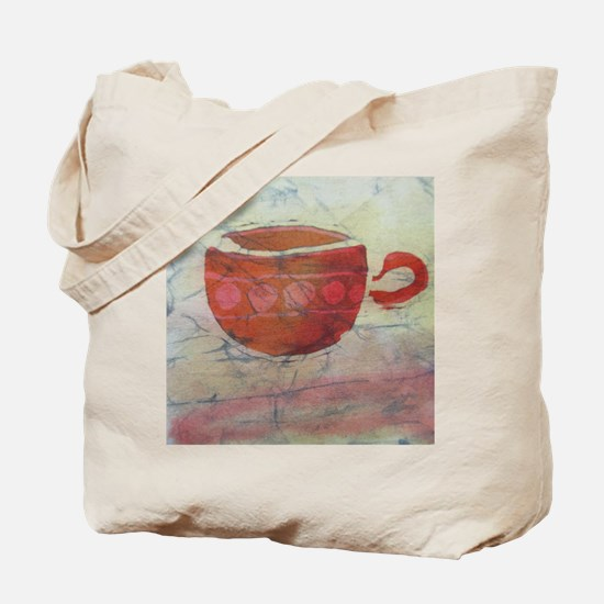 Batik Red Coffee Cup Tote Bag
