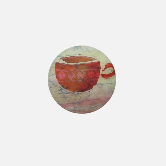 Batik Red Coffee Cup Mini Button