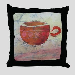 Batik Red Coffee Cup Throw Pillow