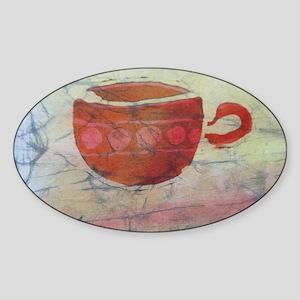 Batik Red Coffee Cup Sticker (Oval)