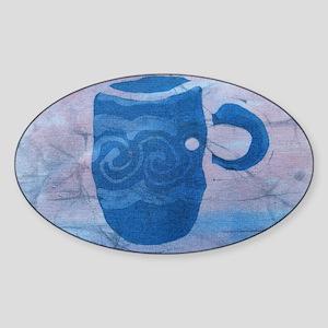 Batik Blue Coffee Cup Sticker (Oval)