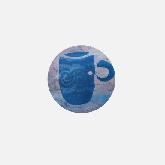 Batik Blue Coffee Cup Mini Button