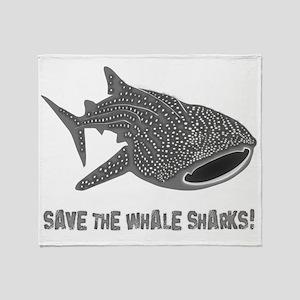 whale shark diver diving scuba Throw Blanket