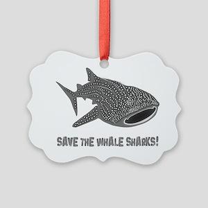 whale shark diver diving scuba Picture Ornament