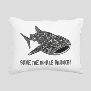 whale shark diver diving Rectangular Canvas Pillow
