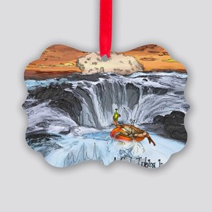 A Crab Tubing in a Tidepool Picture Ornament