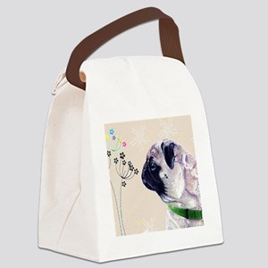 Pug and Flowers Canvas Lunch Bag