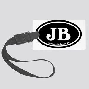 JB.Jacksonville Beach oval.bl.w Large Luggage Tag