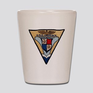 uss hancock patch transparent Shot Glass