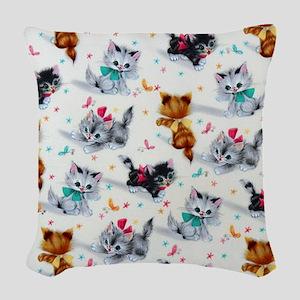 Cute Playful Kittens Woven Throw Pillow