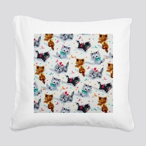 Cute Playful Kittens Square Canvas Pillow