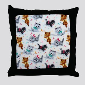 Cute Playful Kittens Throw Pillow