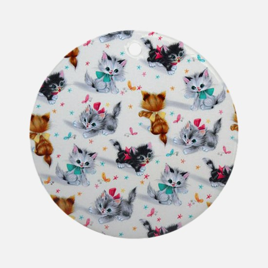 Cute Playful Kittens Round Ornament