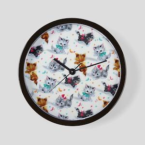 Cute Playful Kittens Wall Clock