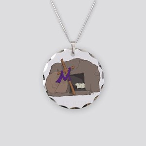 He Is Risen Necklace Circle Charm