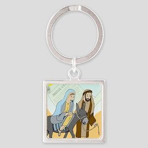 Marys Journey to Bethlehem Square Keychain