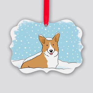 corgiLETITSNOW Picture Ornament