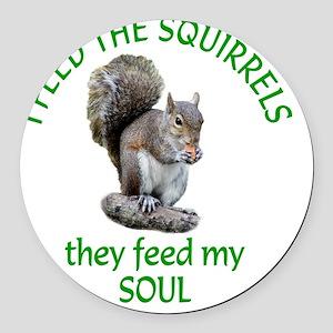 Squirrel Feeder Round Car Magnet
