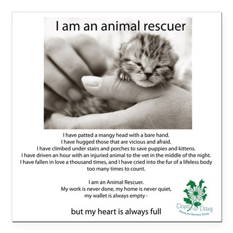 """I am an Animal Rescuer Square Car Magnet 3"""" x 3"""""""