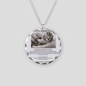 I am an Animal Rescuer Necklace Circle Charm