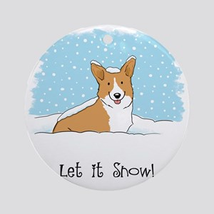 corgiLETITSNOWwords Round Ornament