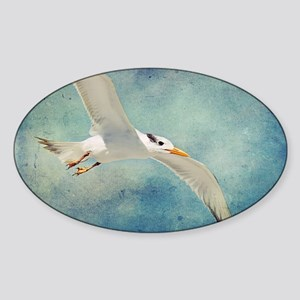 Beach Bird In Flight Sticker (Oval)