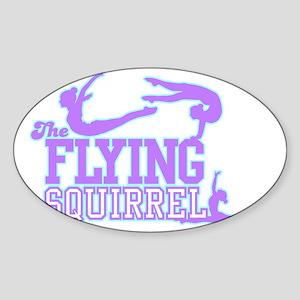 3 Gymnasts (Purple) Sticker (Oval)