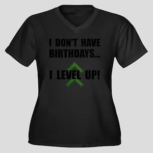 Level Up Bir Women's Plus Size Dark V-Neck T-Shirt