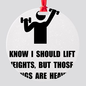 Weights Are Heavy Round Ornament