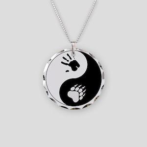 Bear Therian Ying Yang Necklace Circle Charm