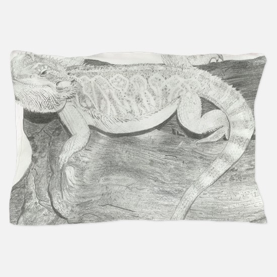 Pencil drawing of a Bearded Dragon Pillow Case